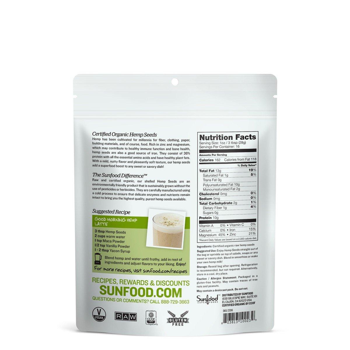 Sunfood Hemp Seeds, Shelled, 1lb, Organic, Raw by Sunfood (Image #2)