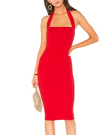 May Maya Women s Red Halter Neck Cocktail Bodycon Midi Dresses at Amazon  Women s Clothing store  7a37a17b29