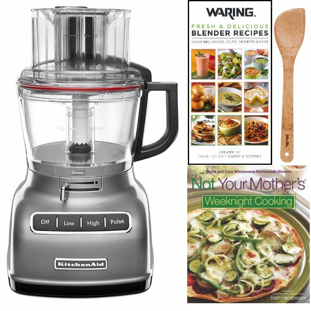 KitchenAid KFP0933CU 9-Cup Food Processor with ExactSlice System + Cookbook, Blender Book and Spatula