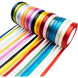 "Tosnail 20 Pack 3/8"" x 24 Yards Each Satin Ribbon Roll Silk Ribbon Roll - Great for Gift Wrapping, Party Decoration or Craft Projects"
