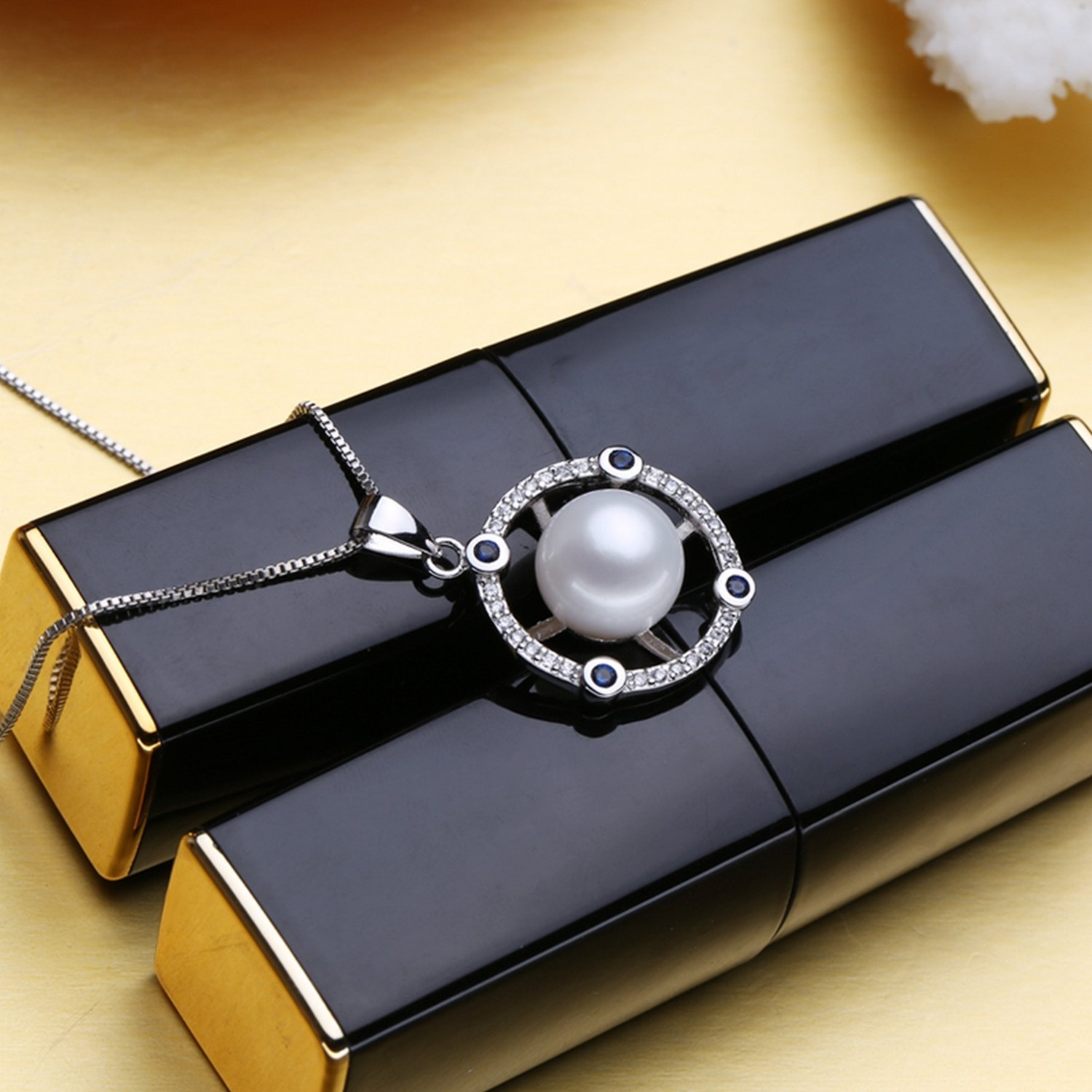 CS-DB Jewelry Silver White Pearl Sapphire Chain Charm Pendants Necklaces