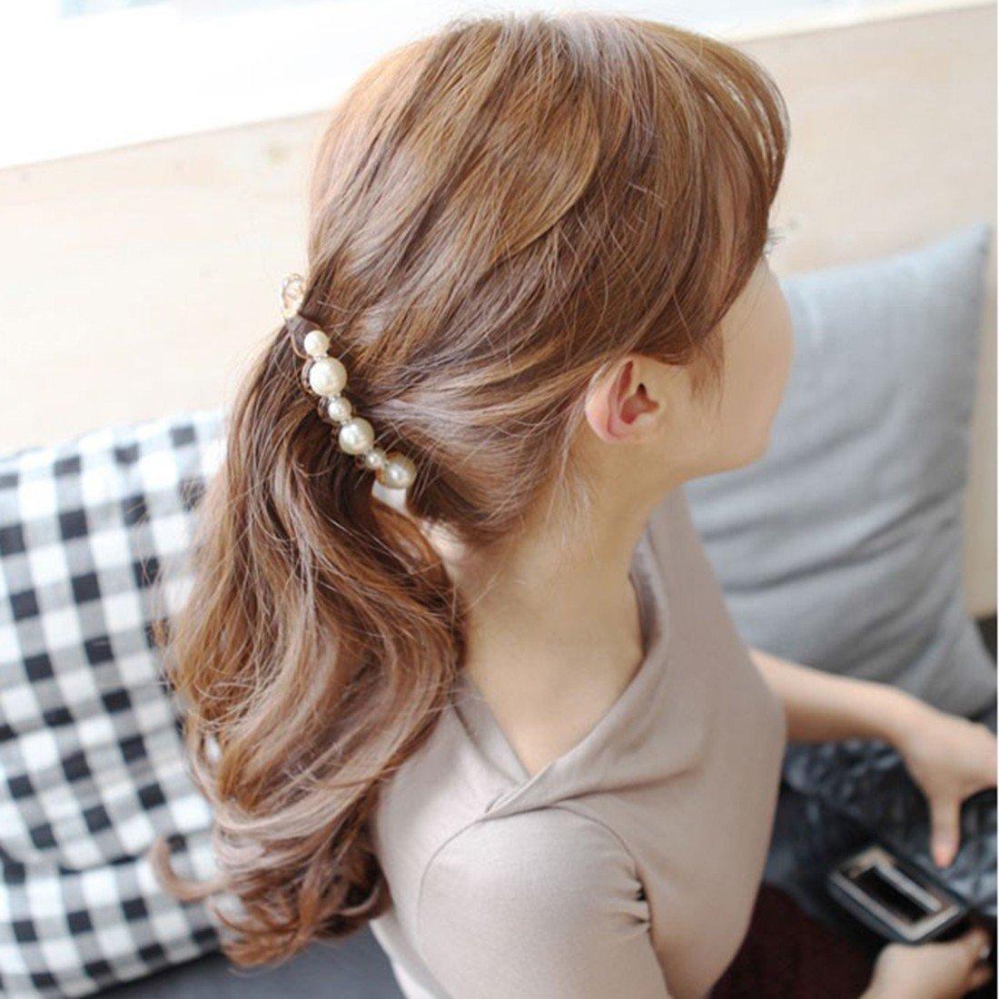 Pour femme /Épingle /à cheveux incurv/ée avec magnifiques fausses perles Noir
