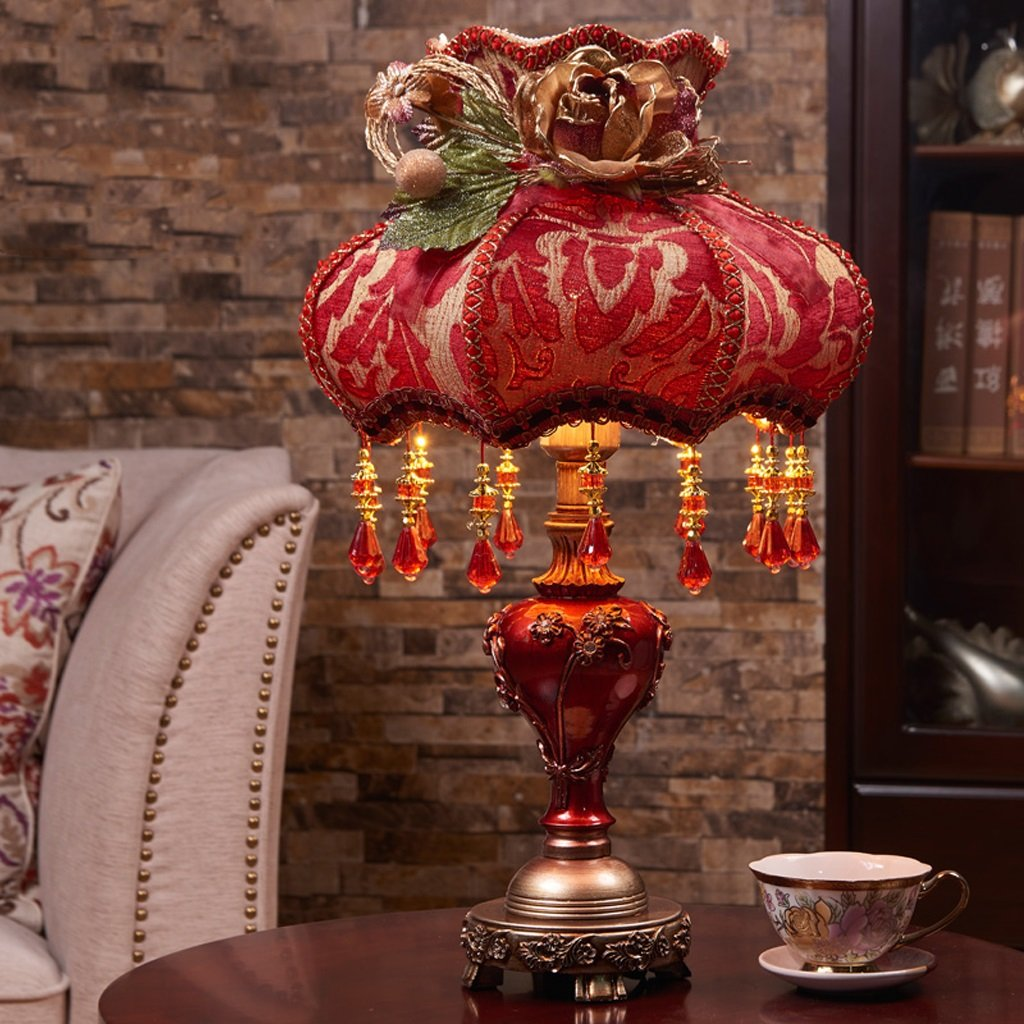 Luxury Cloth Decorative Table Lamp, Button Switch, E27 Retro Sculpture Resin Desk Lamp, Wedding Gift Table Lamp ( Color : Wine red )