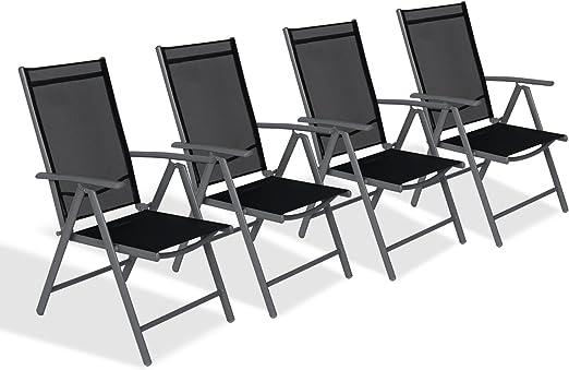 CCLIFE Juego sillas Plegables de Aluminio para jardín, terraza ...