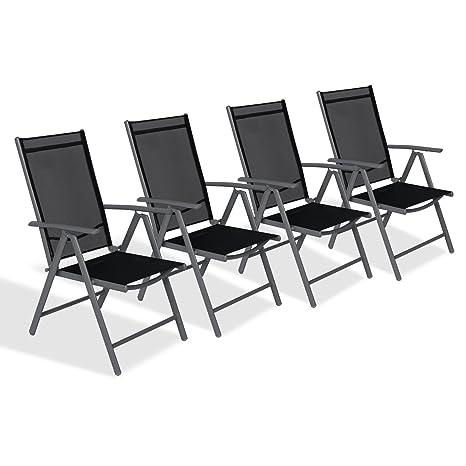 CCLIFE Juego sillas Plegables de Aluminio para jardín, terraza, Patio, Playa,Impermeables y Resistentes al Sol, Color:Dark Gray, Tamaño:4er-Set