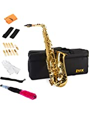 """LyxJam Alto Saxophone """" E Flat Brass Sax Beginners Kit, Mouthpiece, Neck Strap, Cleaning Cloth Rod, Gloves, Cork Grease, Hard Carrying Case w/ Removable Straps, Maintenance Guide """" 10 BONUS Reeds"""