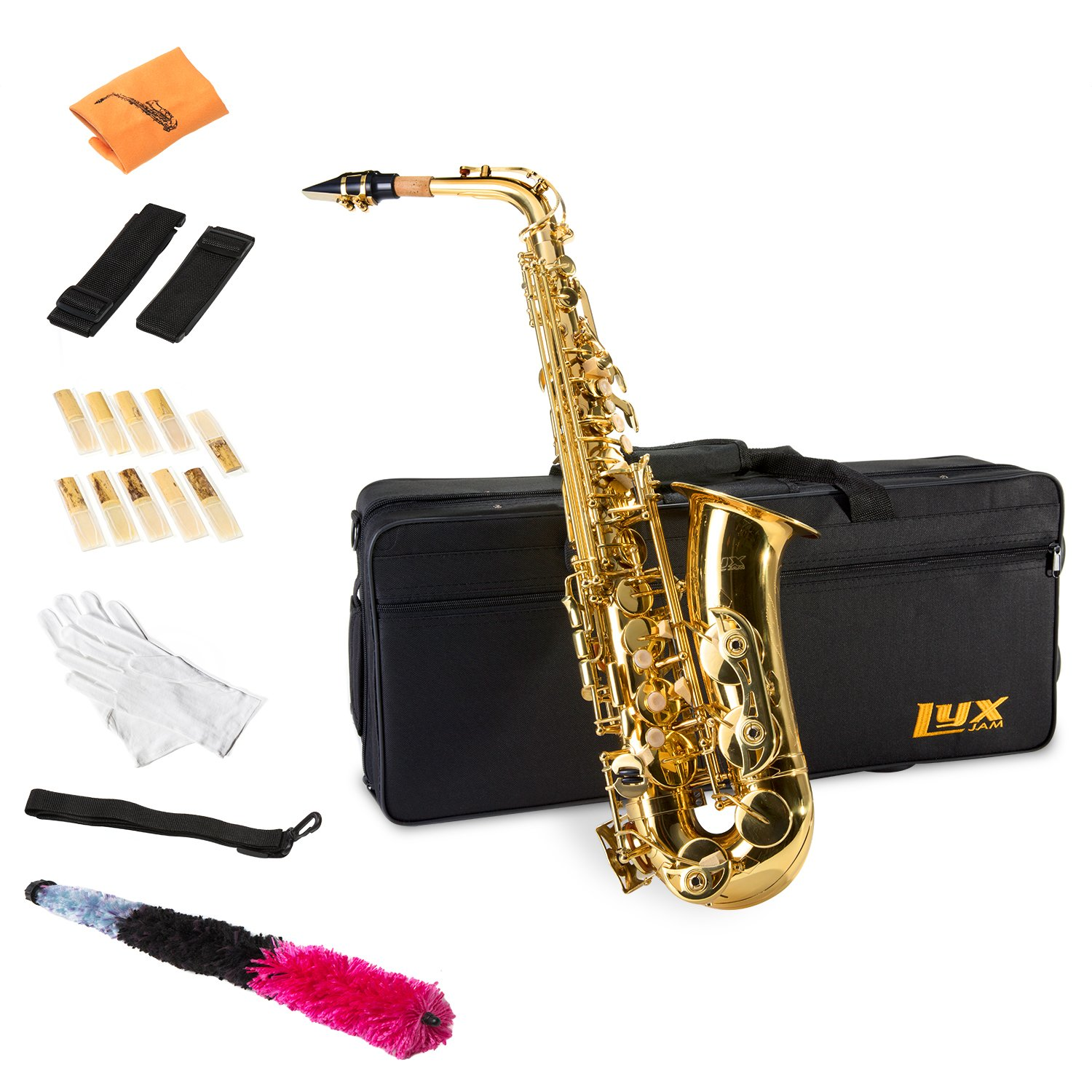 LyxJam Alto Saxophone  E Flat Brass Sax Beginners Kit, Mouthpiece, Neck Strap, Cleaning Cloth Rod, Gloves, Hard Carrying Case w Removable Straps, Maintenance Guide 10 Bonus Reeds