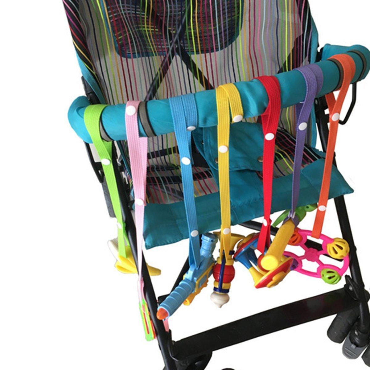 Schnullerketten mit Clip Verstellbare L/änge mit Druckknopf f/ür Kinderwagen//Autositz//Hochstuhl Baby Flaschen Halter Spielzeug B/ügel Gurt 7Pcs