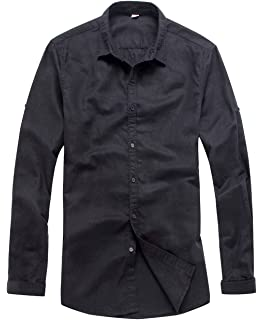 15472395f8c9d0 utcoco Men s Essential Collared Long Sleeve Hemp Button Up Casual Shirts