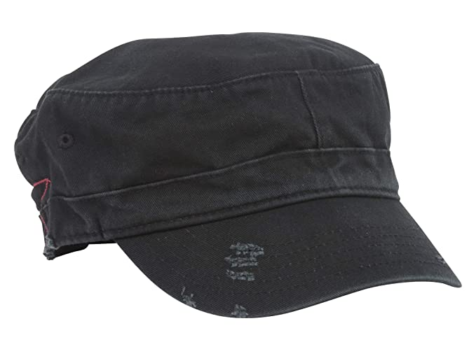 0048aa3b Amazon.com: MG Distressed Washed Cotton Cadet Army Cap (Black): Clothing