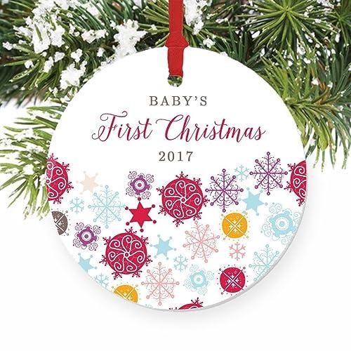 amazon com rainbow snowflakes ornament baby s first christmas 2017