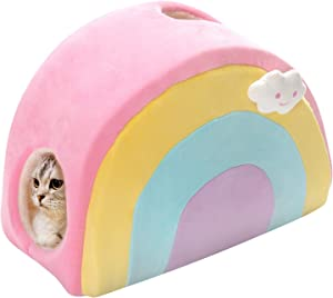 All Fur You Rainbow Cat Cave Bed, Small Cat House for Indoor Cats, Cubby Cat Hideaway Dome Bed Cat Tent Pod Igloo Pet Cave Cat Home Pet Cubes Felt Warm Cozy Caves Cat Hut Covered Beds Puppy Houses