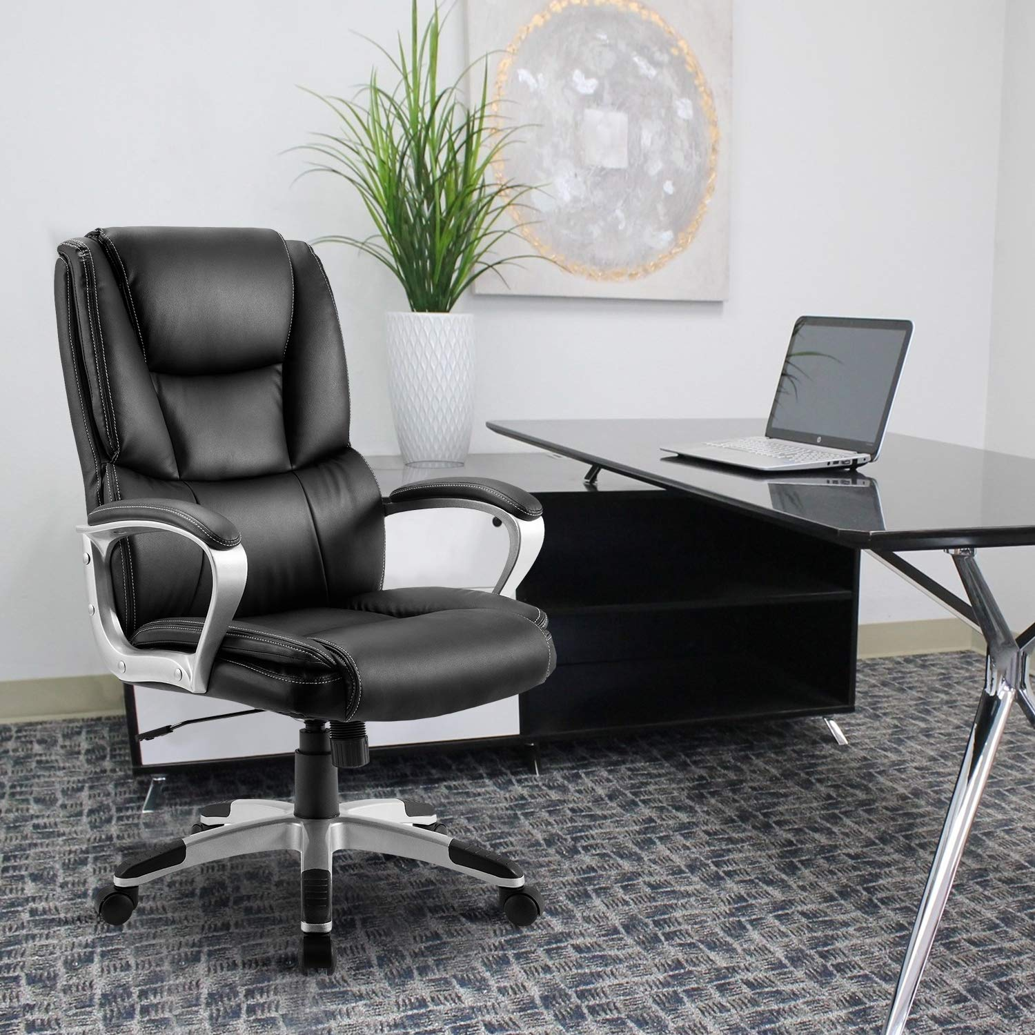 High-Black Exexutive Swivel Home Office Chair Bonded Leather Computer Desk Chair Heavy Duty Nylon Base with 300lbs Weight Capacity