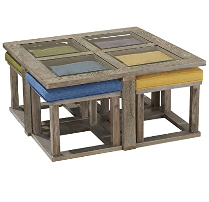 Coffee Table With Stools.Amazon Com O K Furniture Square Coffee Table With 4 Nesting Stools