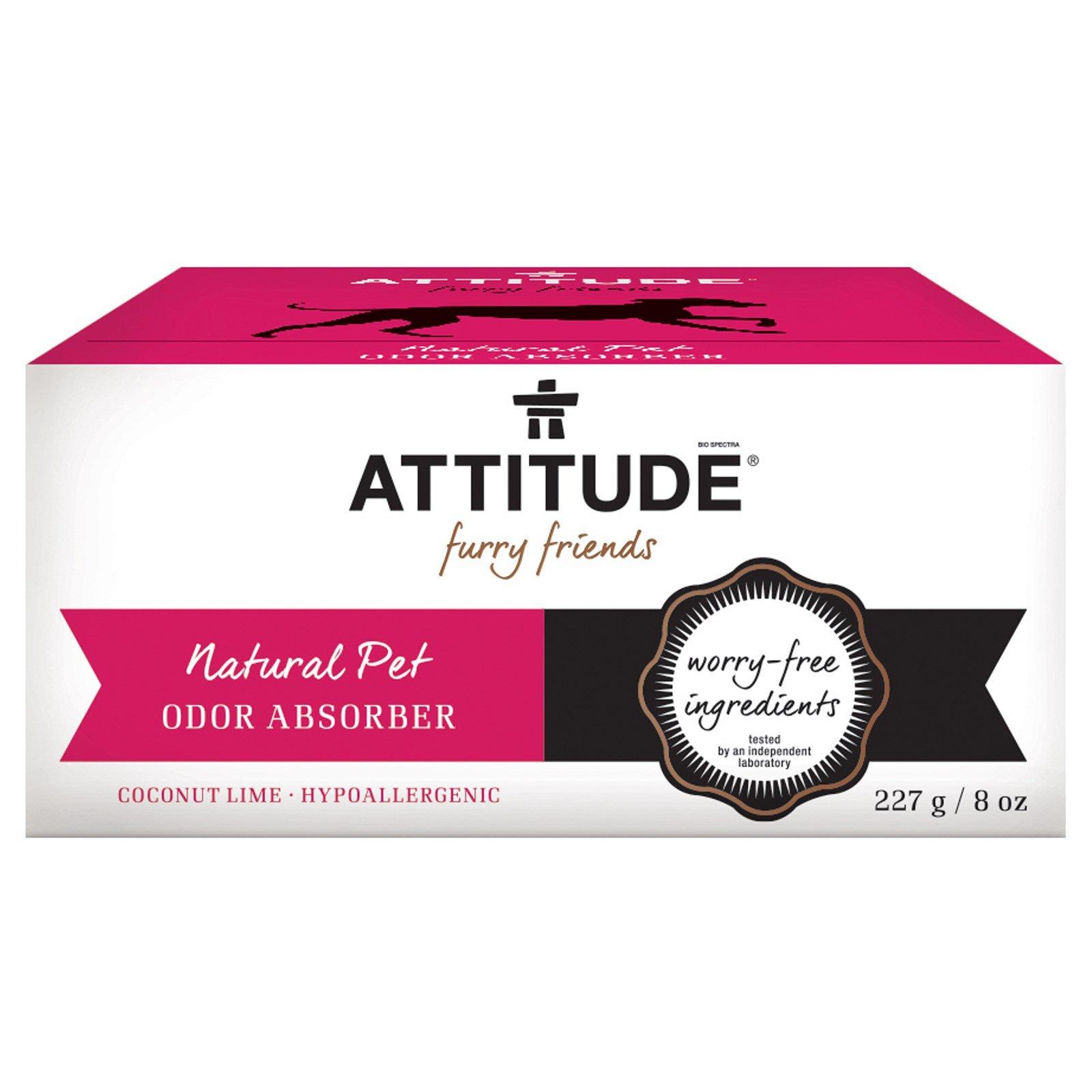 Attitude, Furry Friends, Natural Pet Odor Absorber, Coconut Lime, 8 oz (227 g) - 2PC