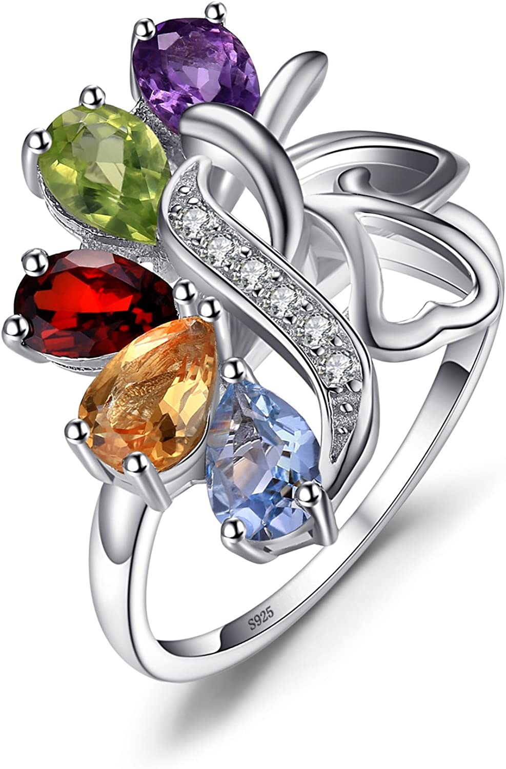 JewelryPalace Anillo multicolor con cinco gemas en Plata de ley 925
