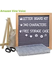 Letter Board 10x10 Inches, Changeable Letter Boards with 340 White Letters and Felt Letter Board with Stand, Wooden Tripod Stand for Classroom, Home, Office, Business (Gray)