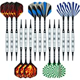 Wolftop 15 Pack Soft Tip Darts 17 Grams with Aluminum Shafts and 5 Style Flights + Extra 60 Pcs Dart Tips