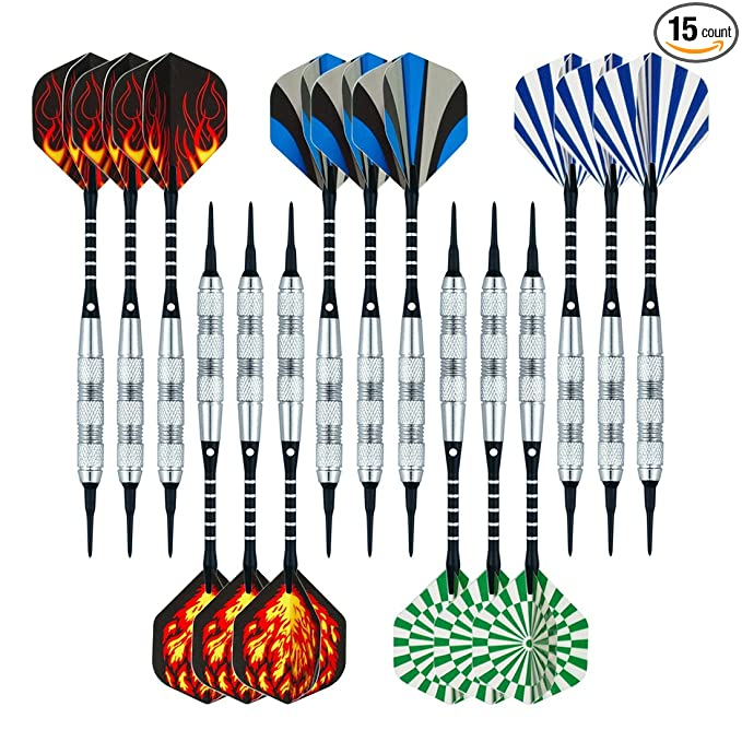 Wolftop 15 Pack Soft Tip Darts – Practice Makes Perfect