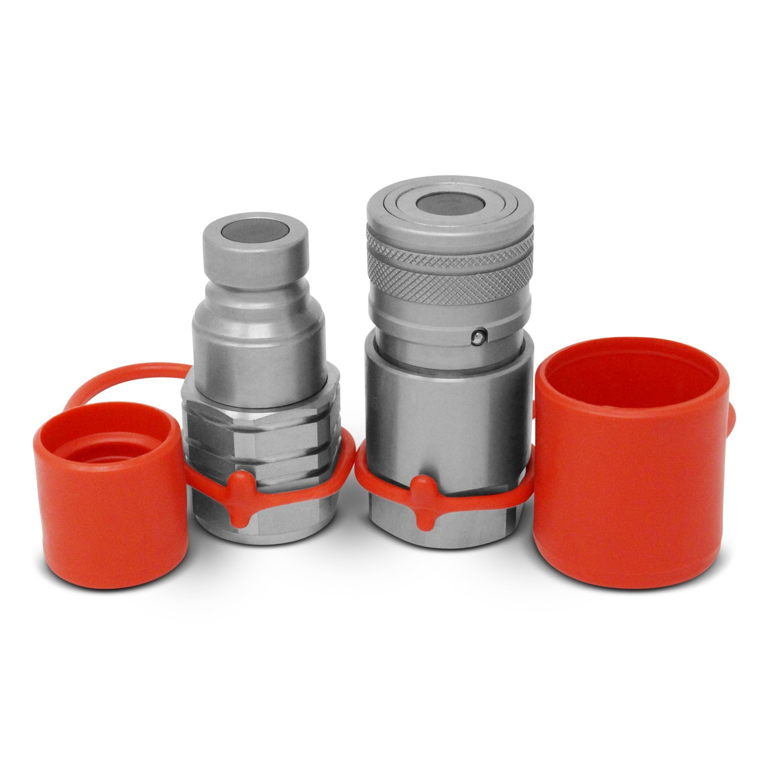 1/2'' Skid Steer Bobcat Flat Face Hydraulic Quick Connect Couplers / Couplings Set w/ Dust Caps by Summit Hydraulics (Image #1)