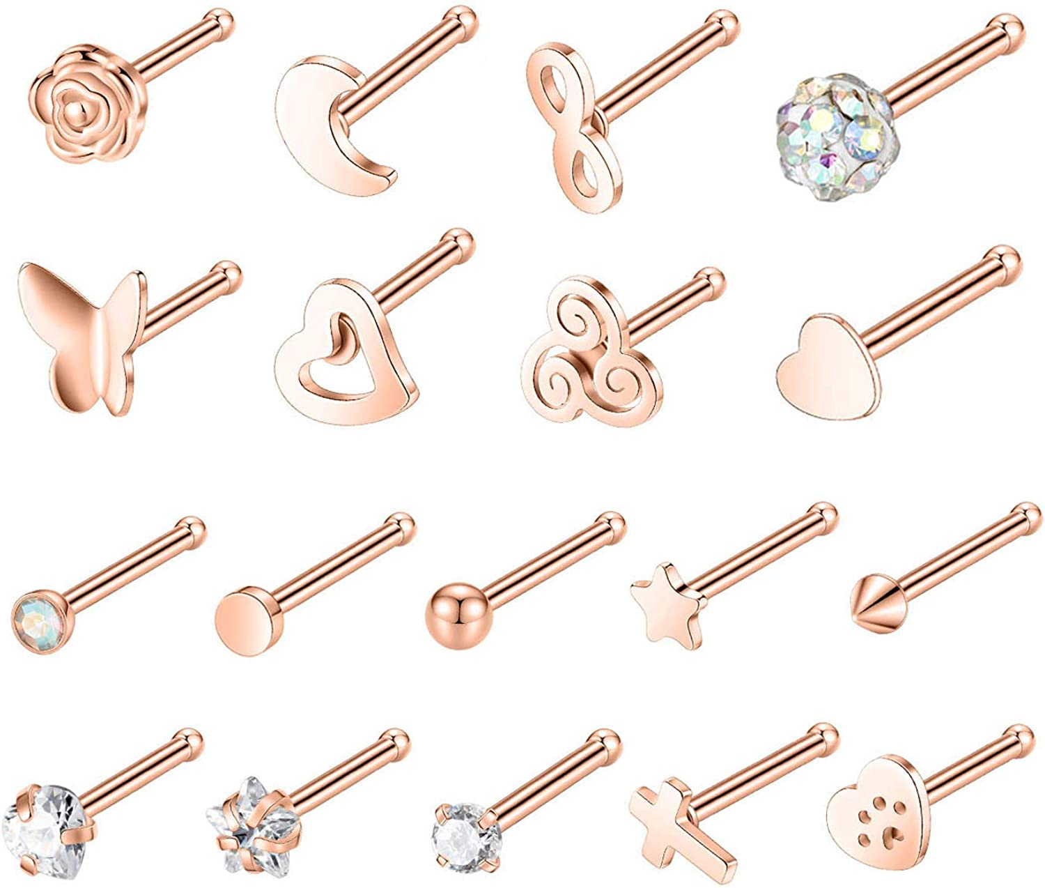 PEAKLINK 20G Cross Infinity Nose Studs Butterfly Nose Screw Heart Star Nose Piercing Cat Paw Body Jewelry 18Pcs