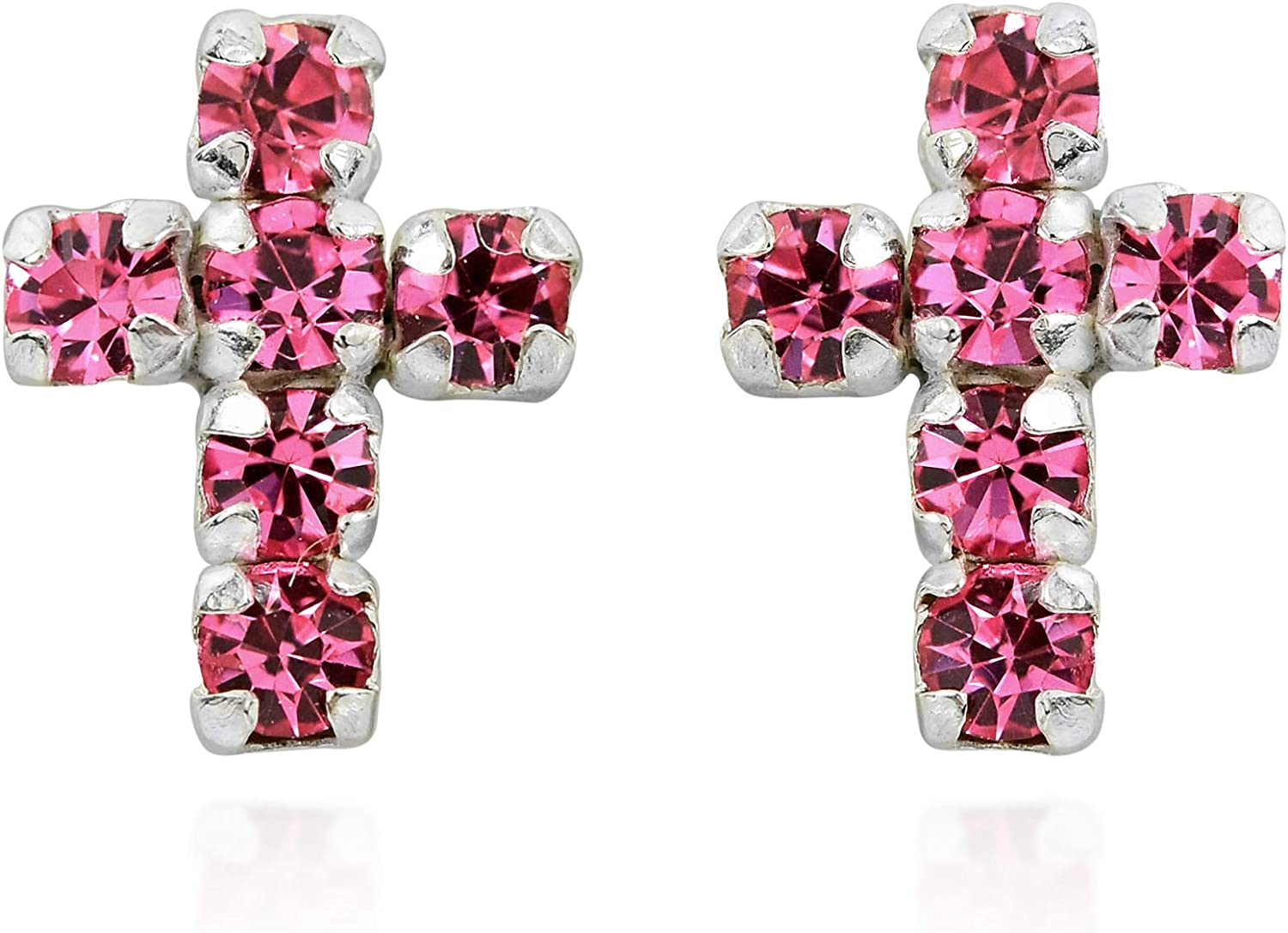 925 Sterling Silver Polished Pink CZ Stud Post Earrings