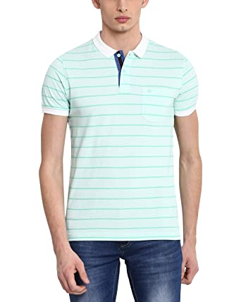 6ca7ea0db Classic Polo Striped Green Polo Slim Fit T-Shirt for Men: Amazon.in ...