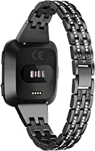 bayite Slim Bling Bands Compatible with Fitbit Versa/Versa 2/Versa Lite Smartwatch, Dressy Metal Bracelet Jewelry Wristband Women