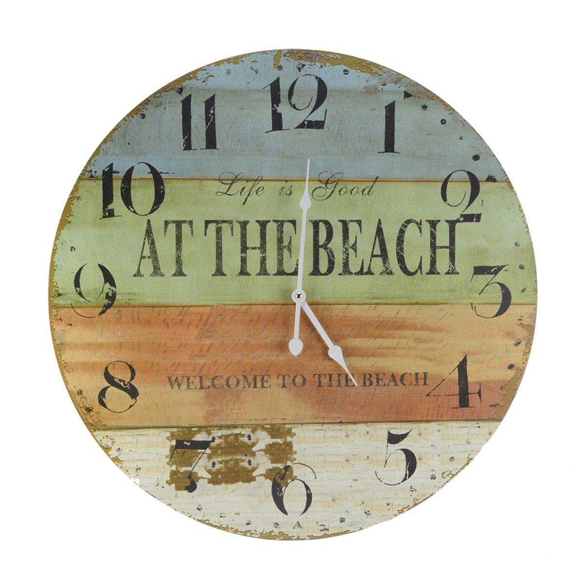 Treasure Gurus Large 23 Life is Good Welcome to The Beach Wood Clock