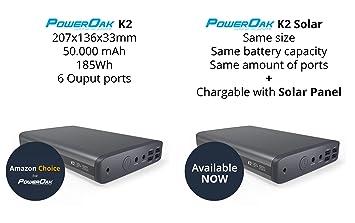 PowerOak K2 Solar - Solar Batería Externa Portátil con 6 Puertos (5/12/20v) de Capacidad Ultra ...
