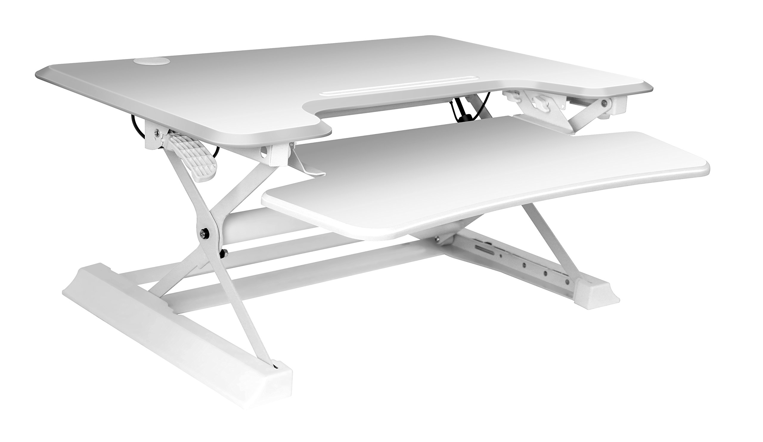 Zeal Height Adjustable Standing Desk Ergonomic Laptop Monitor Standing Dual Riser Sit to Stand Table Computer Workstation Desk (White)