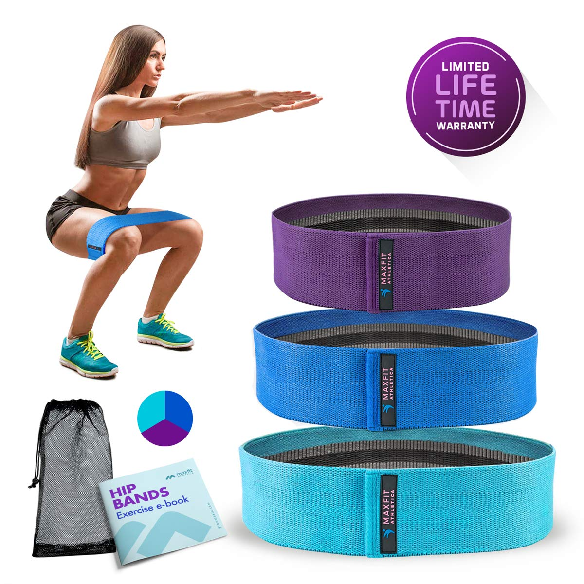 MAXFIT Athletica Hip Resistance Bands   Booty Circles to Activate Legs and Butt   Squat Bands Set of 3   Fabric Non Slip Bands for Glutes  Thighs  and Leg Workouts   Hip Bands for Women