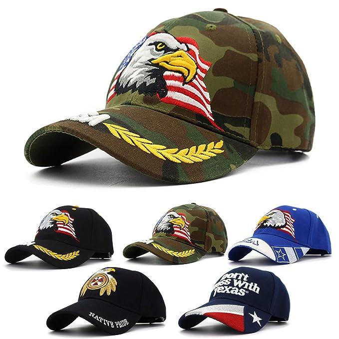 2910f37ad68 Men's American Flag USA Eagle Baseball Hat Cap for Men Adjustable 3D  Embroidered