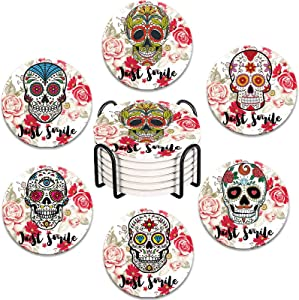Rwaken Set of 6 Skull Head Ceramic Coasters for Drinks with Metal Holder,Just Smile,Halloween Decor,Absorbing Stone Coasters with Cork Base,Day of The Dead Dia De Muertos