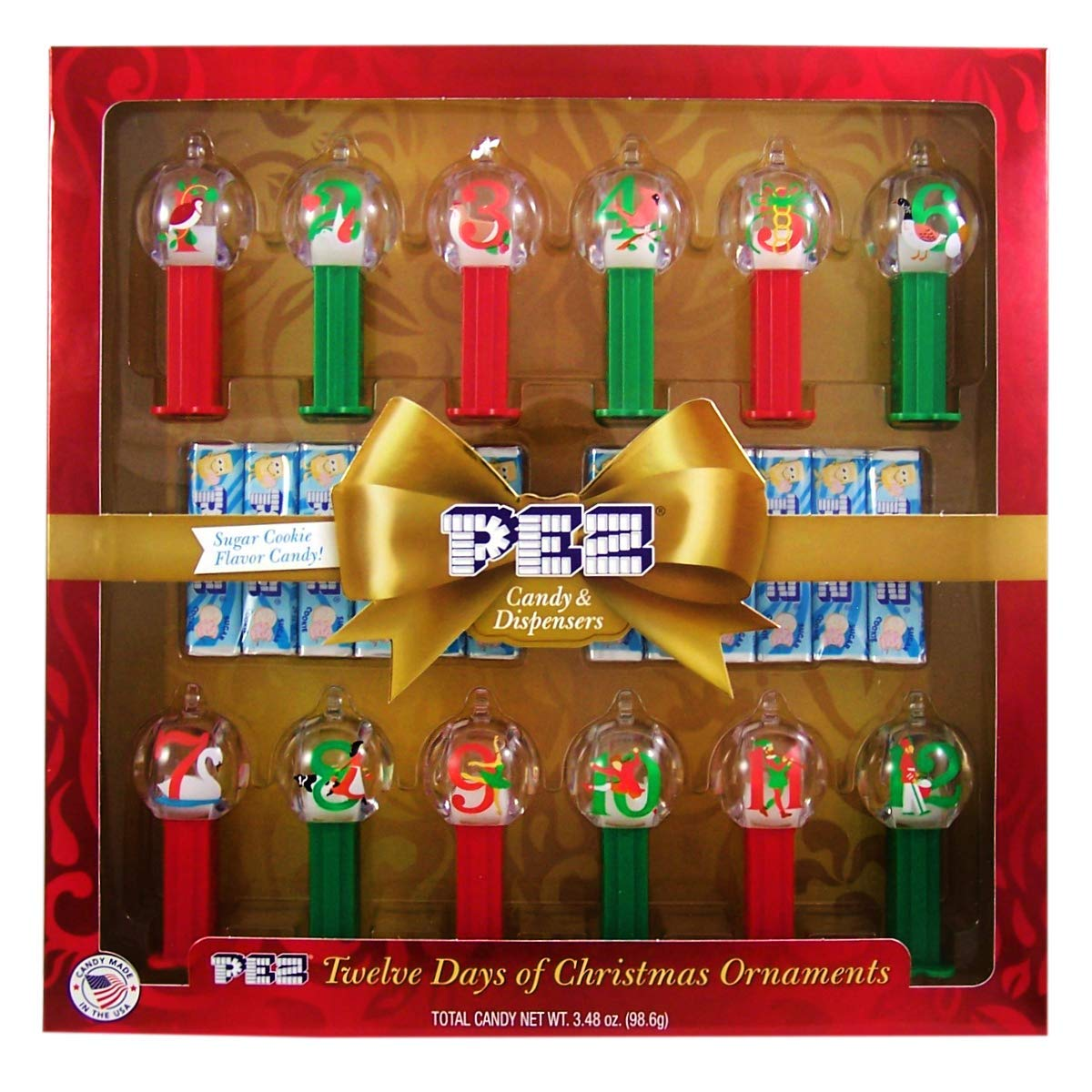 Pez 12 Days Of Christmas Themed Dispenser Ornaments With Sugar Cookie Flavored Candy Gift Set