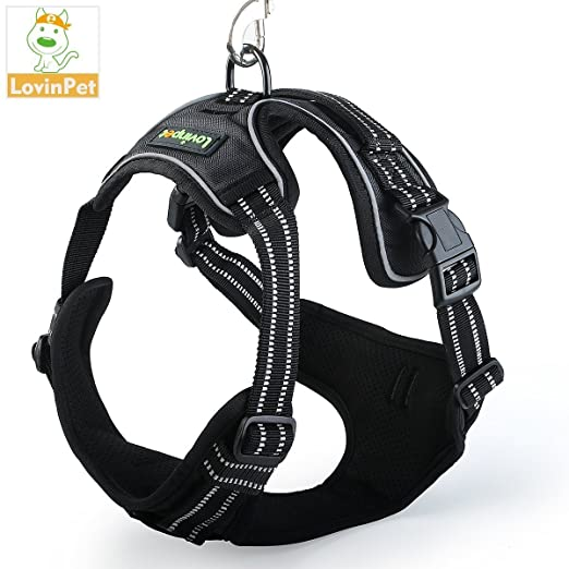 LovinPet Front Range Dog Harness 3M Reflective No Pull Pet Vest Adjustable With Handle Easy Control for all Breeds
