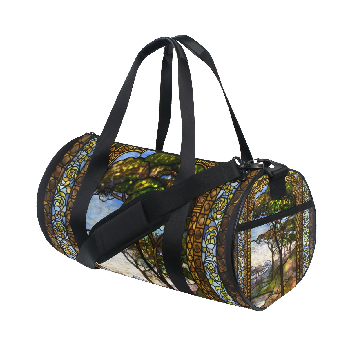 ALIREA Stained Glass Windows Duffle bag Shoulder Handy Sports Gym Bags for Men and Women