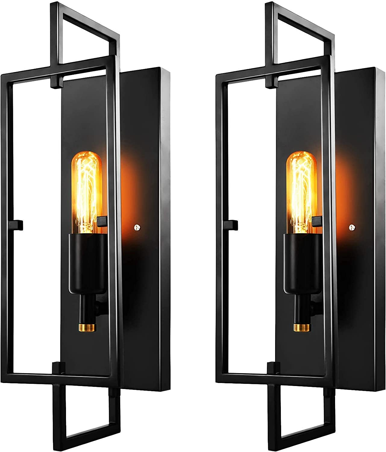 Otdair Wall Sconces Set of 2, Rustic Wall Lights Fixture for Living Room Indoor, Black Industrial Wall Sconce Lighting Home Decor Vintage, for Hallway, Bedroom, Bathroom, E26 Base, Bulbs Included