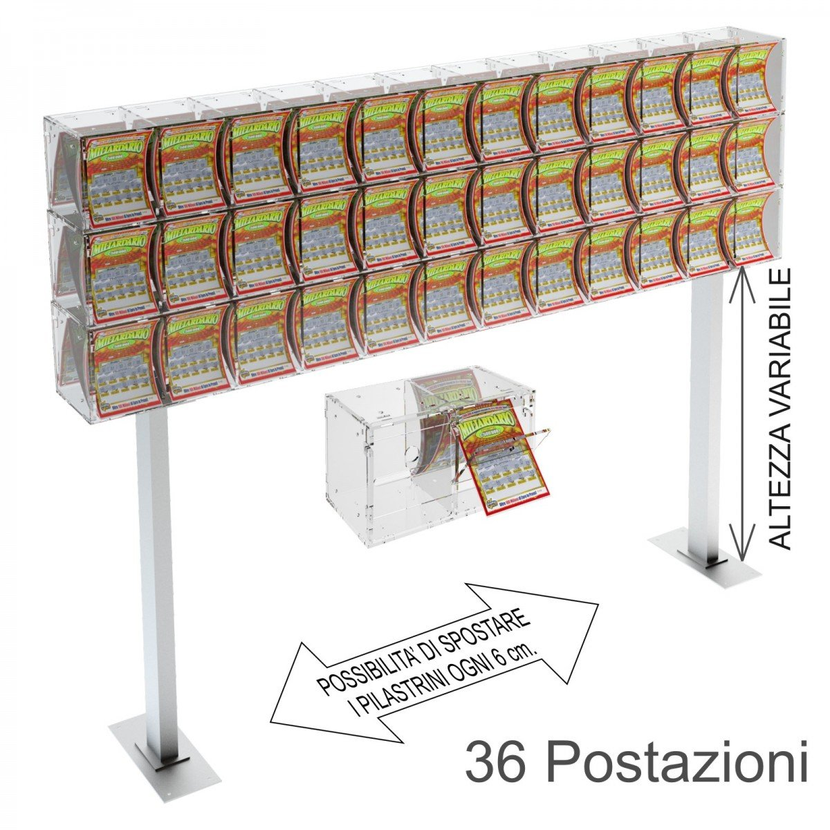 Espositore gratta e vinci da banco in plexiglass trasparente a 36 contenitori munito di sportellino frontale lato rivenditore