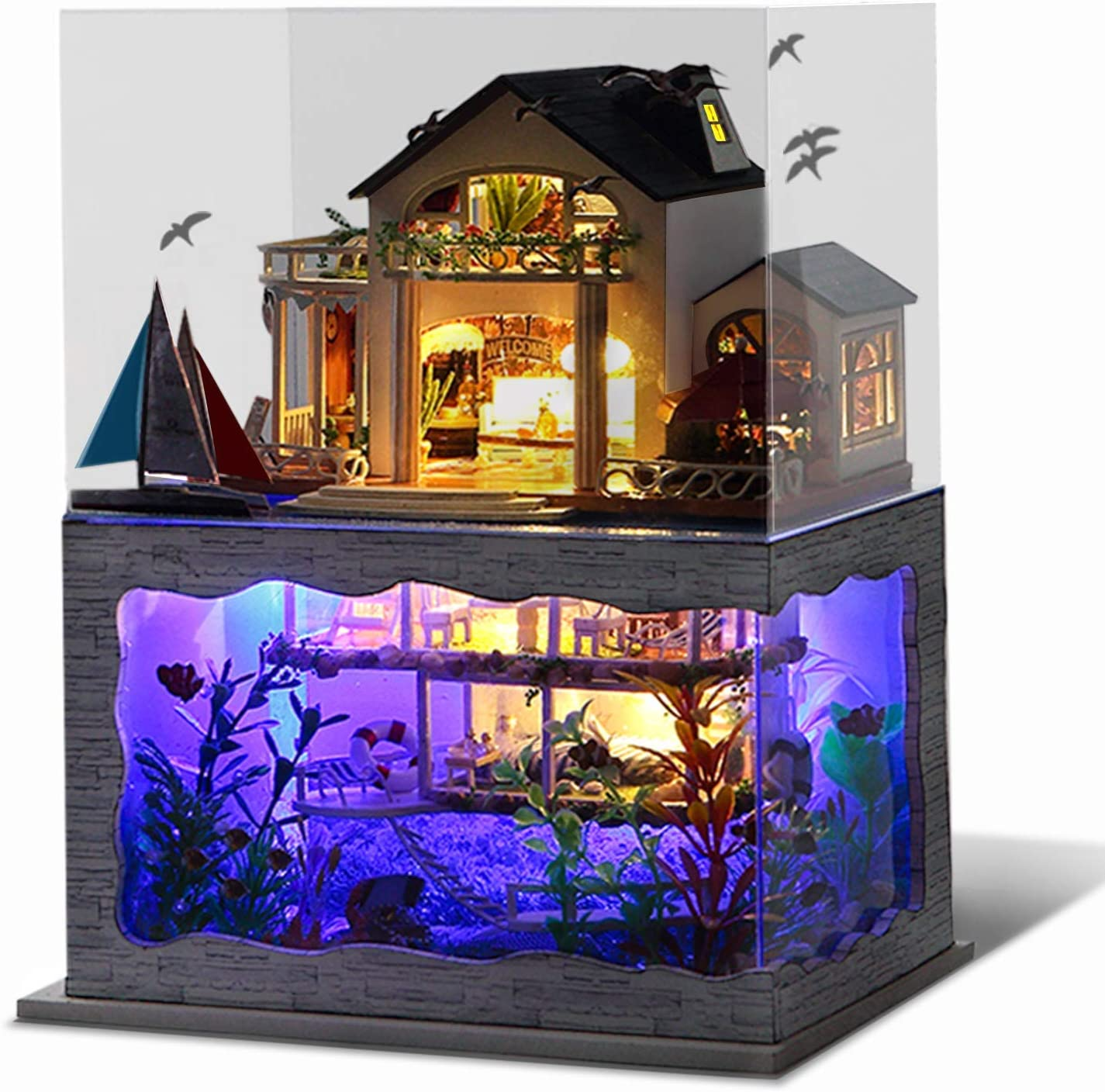 UniHobby DIY Miniature Dollhouse Kit, Tiny House Impression Hawaii 3D Wooden Puzzle Toy Gift with Furniture Dust Proof LED Lights for Adults