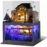 UniHobby DIY Miniature Dollhouse Kit, Tiny House Impression Hawaii 3D Wooden Puzzle Toy Gift with Furniture Dust Proof LED Li