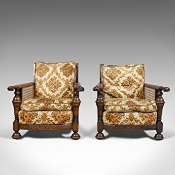 Par de sillas antiguas, conservatorias, roble, inglés ...