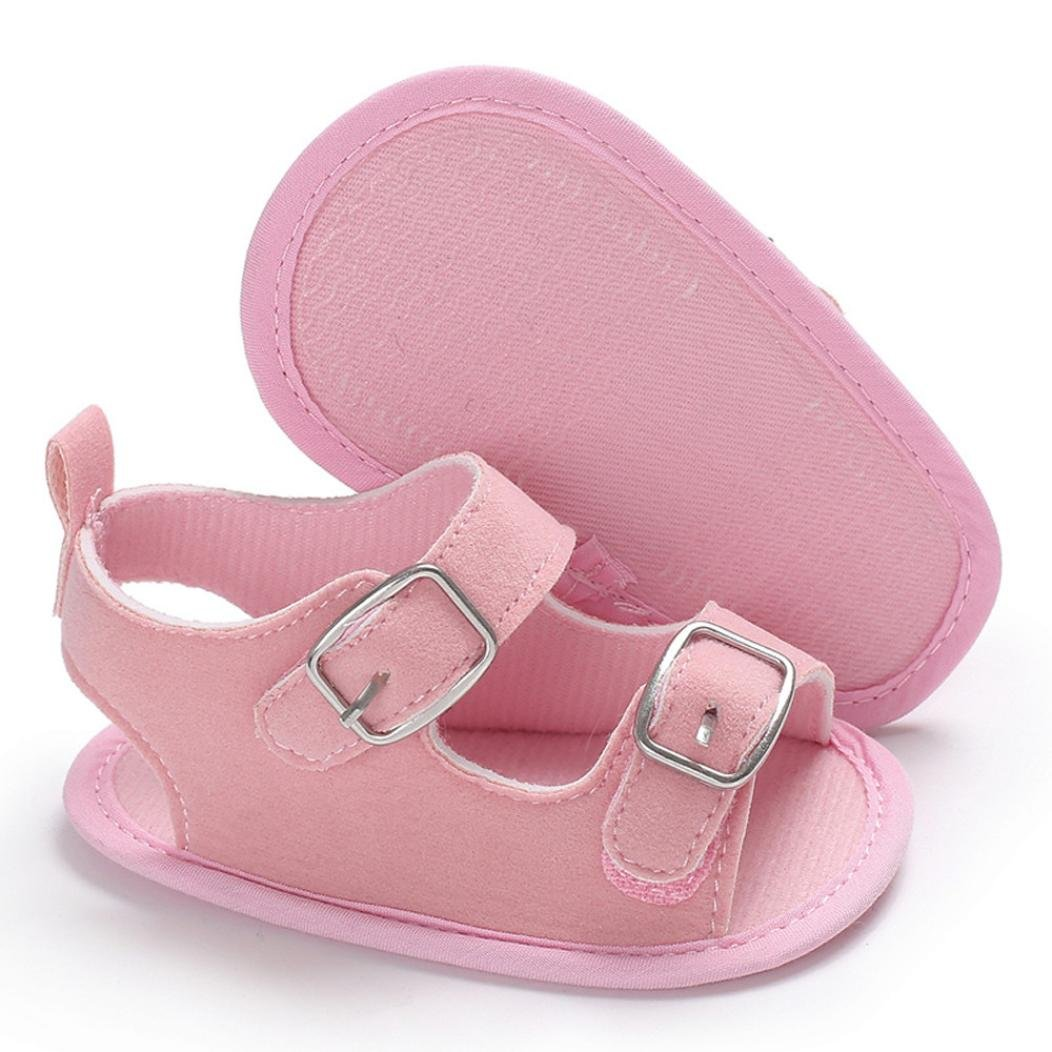 Voberry@ Baby Summer Shoes Infant Sandals Canvas Buckle Strap Open Toe First Walker Shoes