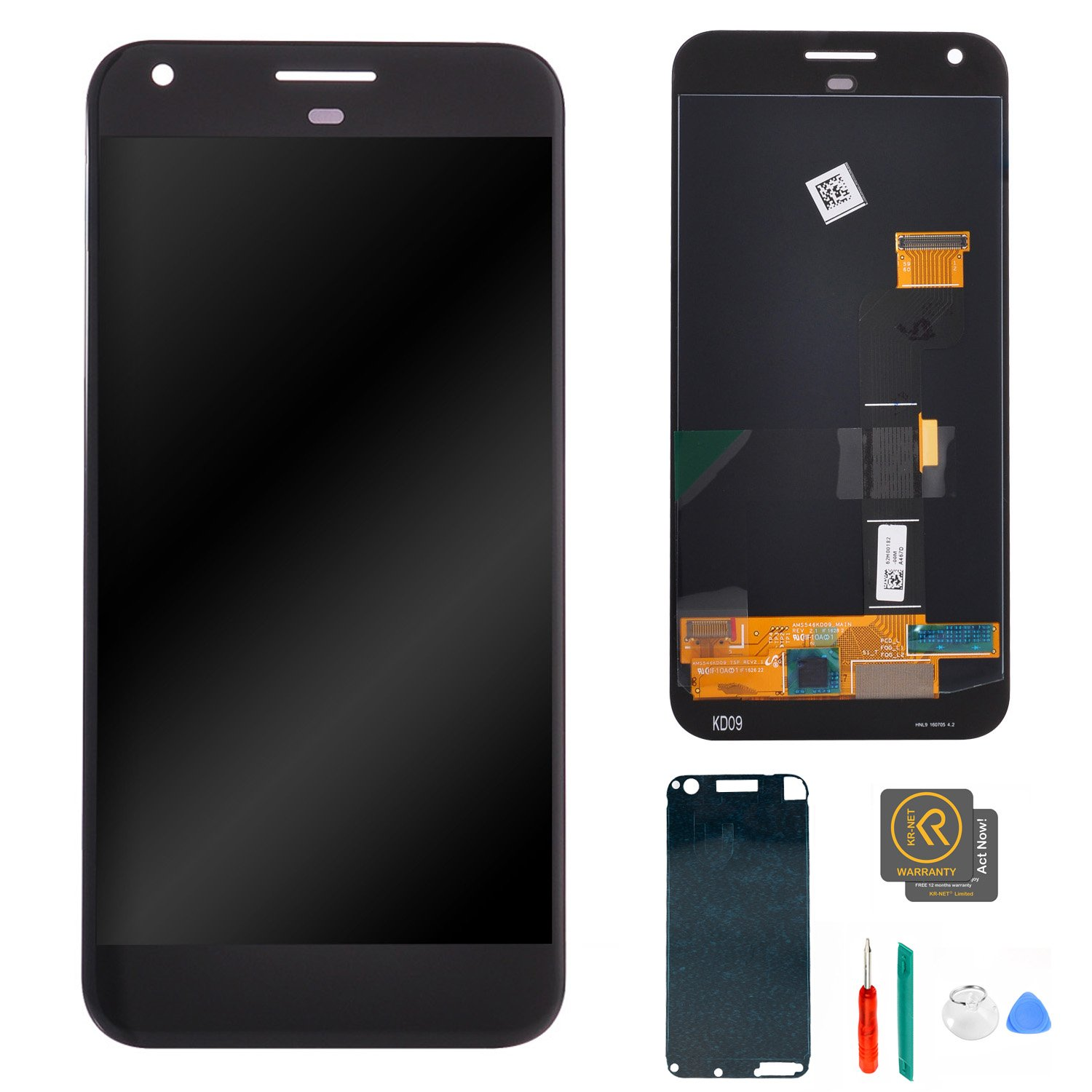 KR-NET 5.5'' LCD Display Touch Screen Digitizer Assembly for Google Pixel XL (Quite Black), with Tools