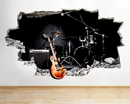 C585 guitar cool band music studio smashed wall decal 3d art stickers vinyl roomkids bedroom baby
