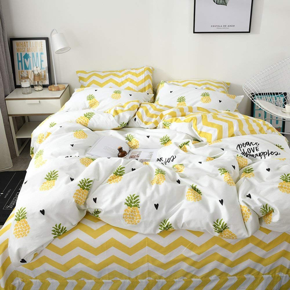XUKEJU 100% Cotton Soft Children/Adults Duvet Cover Set Yellow/White Fruits Reversible Boys Girls Bedding Set