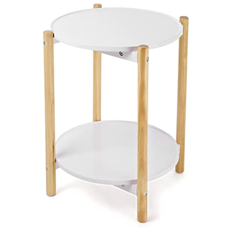Amazoncom SONGMICS Tier Side Table Scandinavian End Table With - 2 tier round coffee table