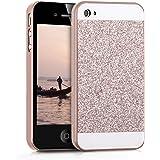 kwmobile Cover per Apple iPhone 4 / 4S - Custodia rigida in plastica per cellulare - Hard case back cover Design rettangolo di brillantini oro rosa bianco