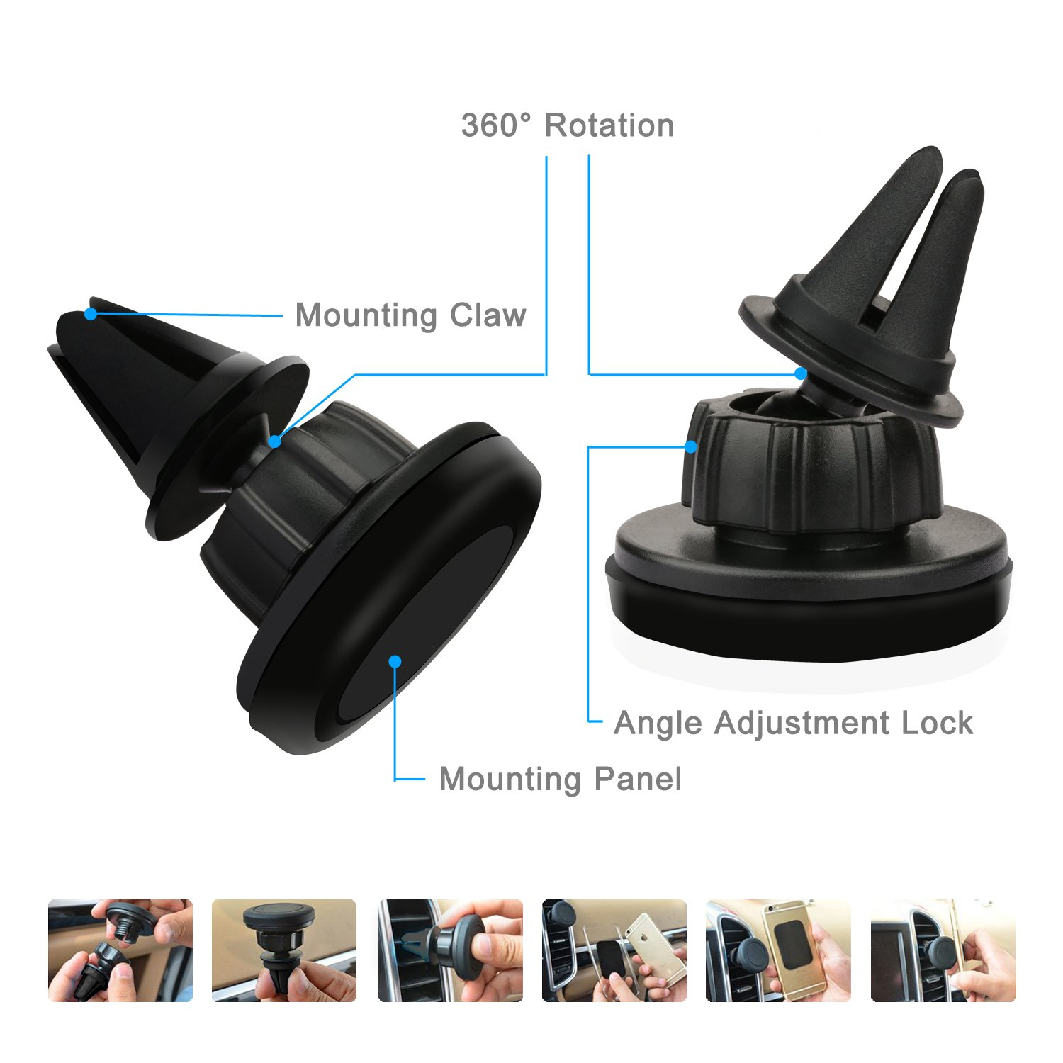 Amazoncom Etekcity 360 Degree Magnetic Air Vent Universal Car Mount Ventilation Holder T360 With Smart Snap Technology Black Cell Phones Accessories