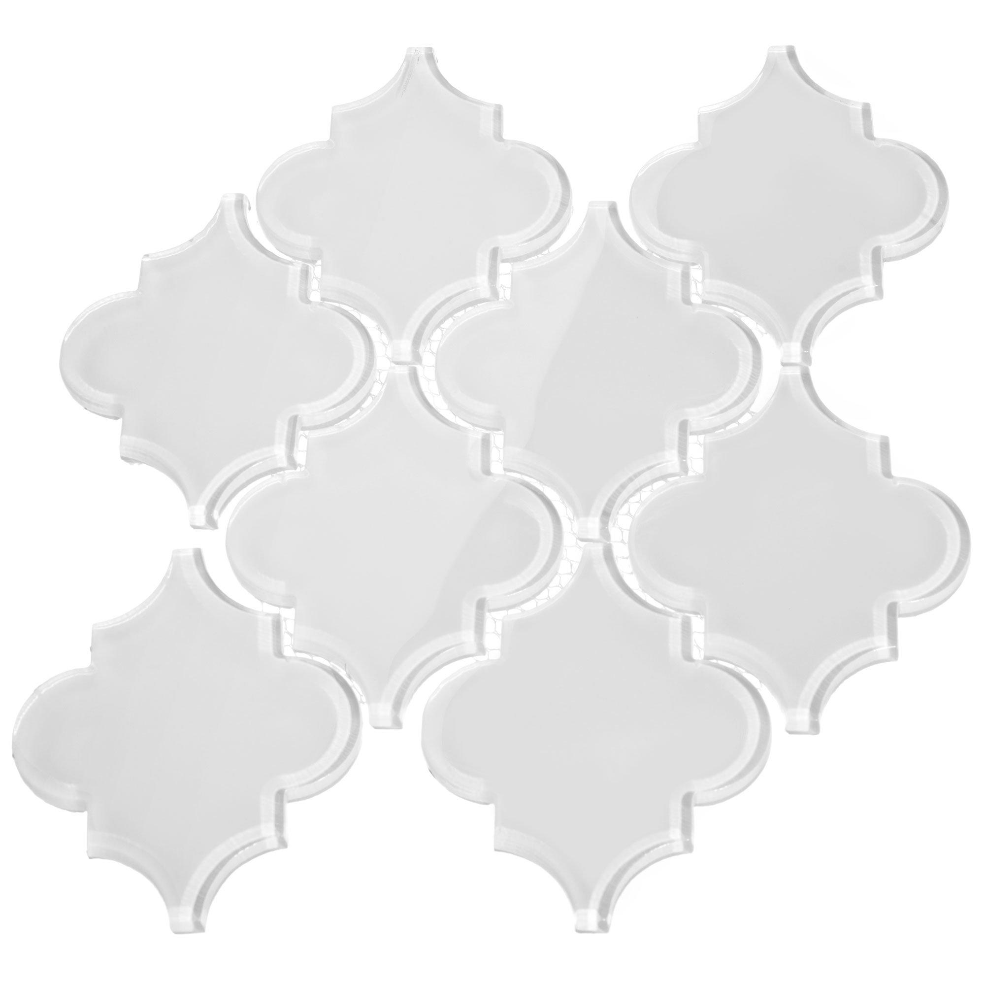 Giorbello G9113 Glass Arabesque Tile, Bright White by Giorbello